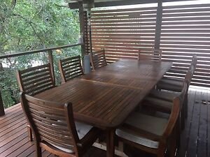 Teak outdoor dining table and 8 chairs Windsor Brisbane North East Preview
