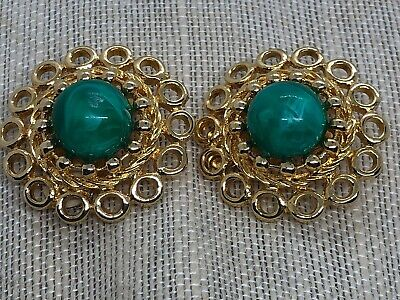Vintage Costume PAOLO GUCCI Green Stone and Gold Clip Earrings
