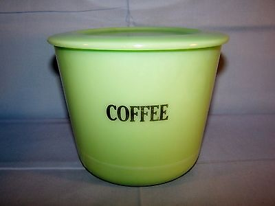 Vintage McKee Green Jadeite COFFEE Canister w Lid Depression Glass Jar LG 40 oz