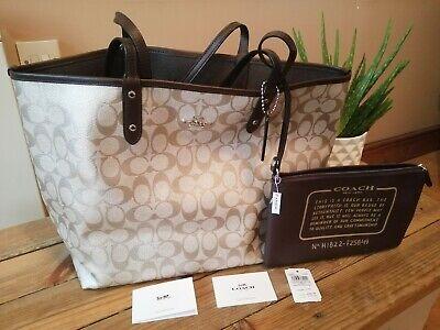 Coach signature City Tote Bag Platinum Oxblood F25849