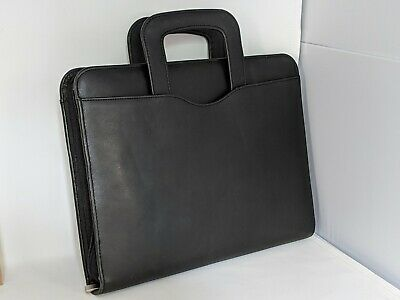 Monarchfolio Day-timer Franklin Covey Blk Leather 3 Ring Planner Binder Handles
