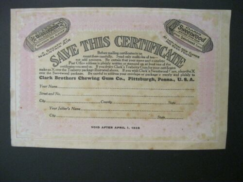 Victorian Trade Card 1928 Clark Brothers Chewing Gum Certificate Sweetwood 44