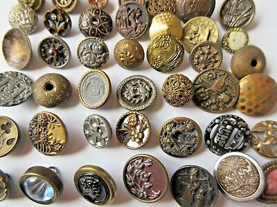 LARGE Lot of 40+ Antique~ Vtg Victorian Metal BUTTONS Cut Steels, Pictures+ (O5)