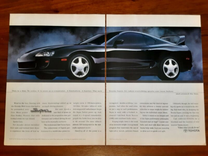 TOYOTA SUPRA MAGAZINE ADVERTISEMENT SPORTS CARS AND CROSSED THE LINE