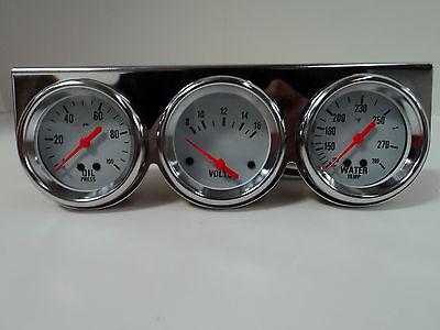 "Universal 2 5/8"" Chrome Oil Pressure Water Volt Triple 3 Gauge Set Gauges Kit"