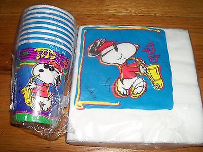 Snoopy Jazz Birthday Party Supplies Multi-color 4pc Lot Party Express NOS