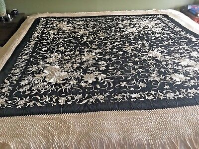 "ANTIQUE French handmade silk embroidered piano shawl.  72"" square. BEAUTIFUL"
