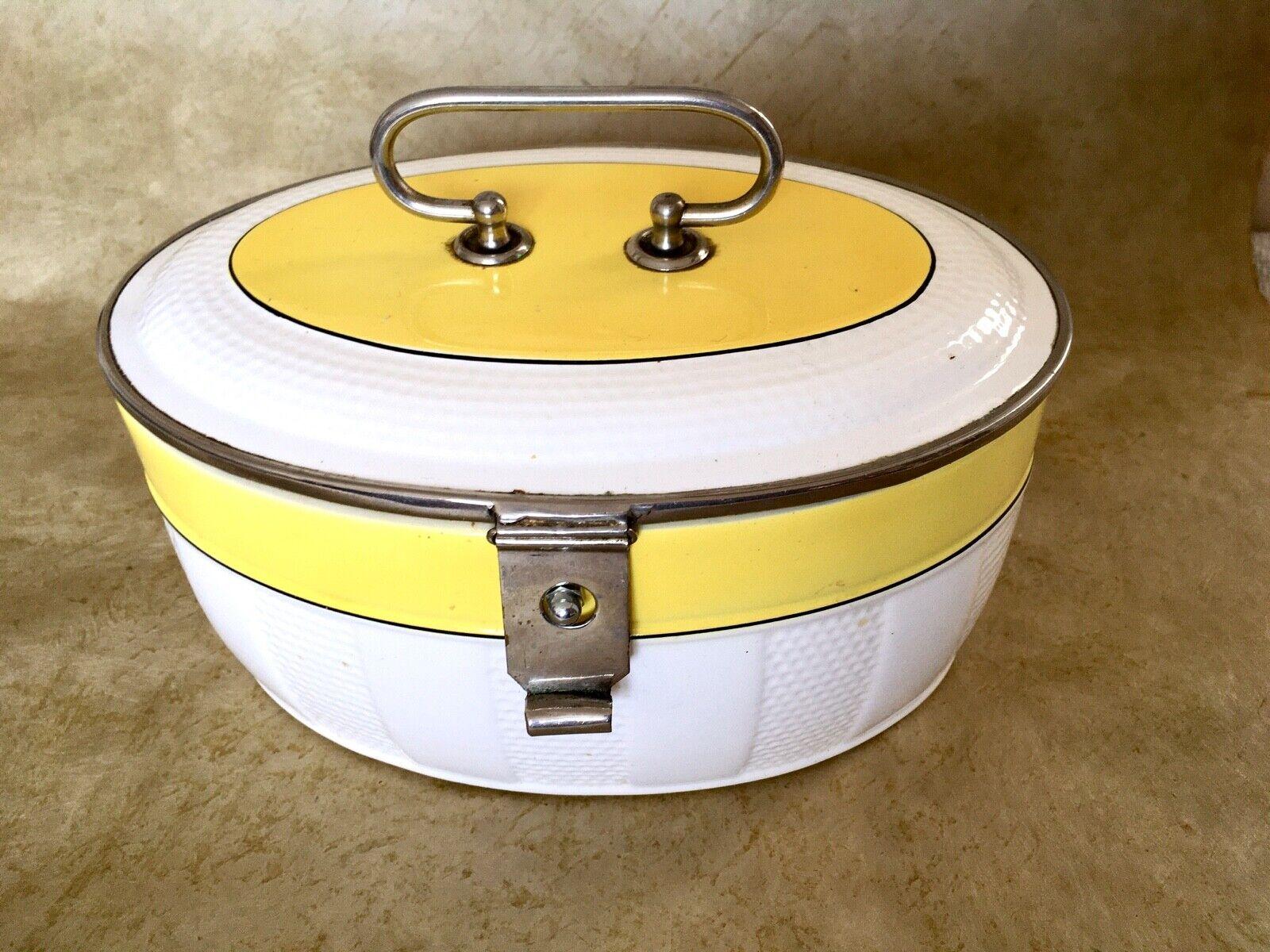 Keksdose; Porzellan; weiß / gelb; mit Deckel und Metallmontierung; Gebäckdose