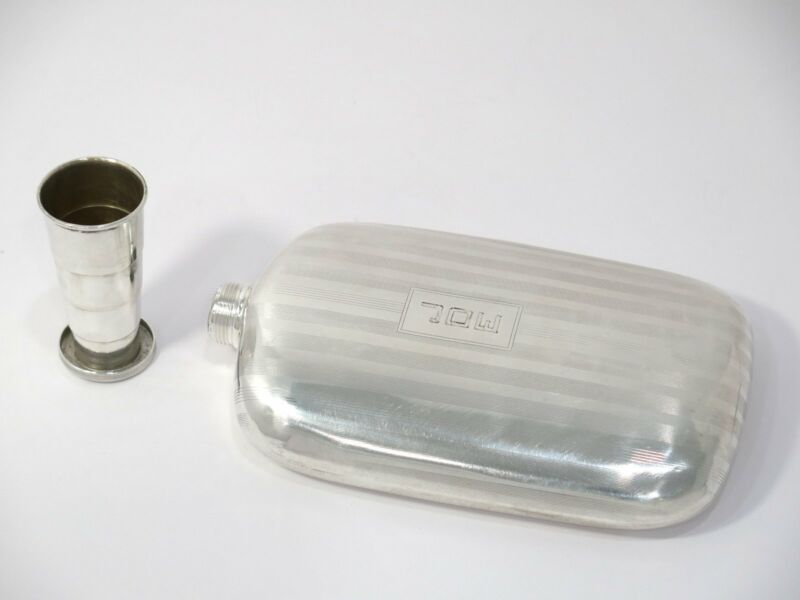 6 5/8 in - Sterling Silver Antique American Flask w/ Collapsible Cup Cap