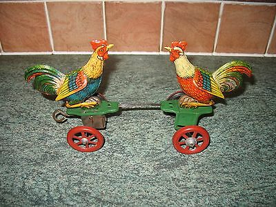 EINFALT ROOSTERS FIGHTING CHICKEN TIN WIND-UP GERMANY TINPLATE TOY technofix 20s