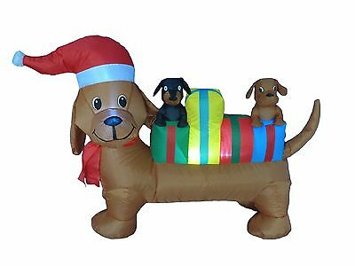 USED Christmas Inflatable Dog Puppy Pet Blowup Lighted Outdoor Santa Decoration