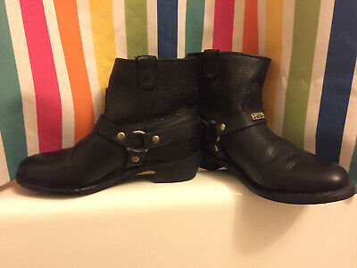 Black Leather Women's Engineering Motorcycle Boots Size 9 Frye Punk Goth Grunge Gothic Leather Boots