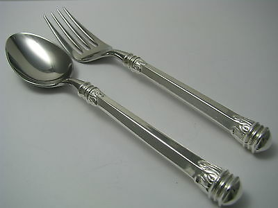 WALLACE STERLING SILVER SPOON & FORK SILVER HANDLE STEEL BOWL DESSERT SET 1950s