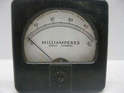 Vintage Marion Electrical Gauge Milliamperes Direct Current 0-50 Panel Meter