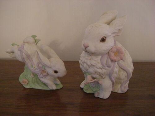 Rabbit Figurines Music Box 1988 Vintage Enesco G.G. Santiago