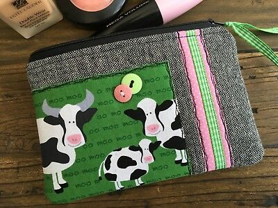 Handmad Fabric Cosmetic Make up bag Pouch Cow Farm Animal Gingham Bull Gift