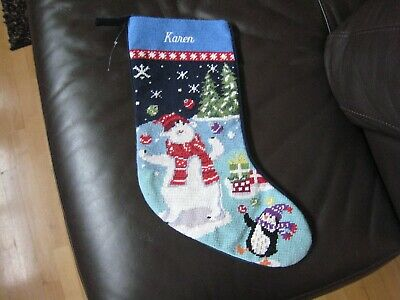 LANDS END NEEDLEPOINT CHRISTMAS STOCKING MONOGRAMMED