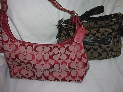 2 COACH Handbags Purses NEW Red Purse and Pre Owned Black Signature C Purses