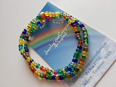 (Handmade Colorful Rainbow Stackable Glass Seed Bead Stretch Bracelets )