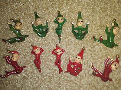 10 Vintage Plastic Miniature Pixie Elf Christmas Figurine Fairy Garden Decor