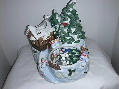HOME INTERIORS Christmas SNOWMAN CERAMIC TREE LIGHT UP MUSICAL SKATING RINK new