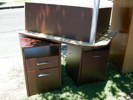 corner workstation and solid timber wardrobe