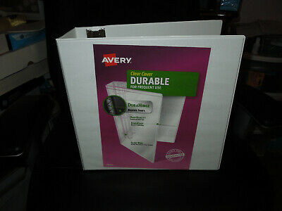 Lot Of 2 Avery Durable Clear Cover White Letter Size Binder 3 Slant Rings