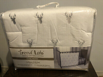 Trend Lab Stag Head 3 PC Baby Nursery Crib Bedding Set NEW
