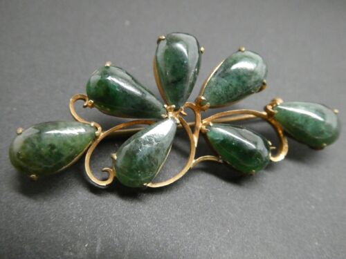 Vintage Jadeite Jade Gemstone Three Leaf Clover Flower Gold Gilt Chinese Brooch
