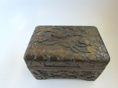 Vintage Ornate Carved Wood Jewelry Trinket Box Asian Dragon 52062 Small
