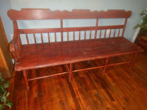 Antique Country Rustic Settee Bench wide Plank Seat hall porch Primitive