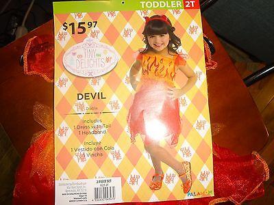 Girls Toddler Devil Diva Halloween Theme Party Costume Sz 2T Orange Red New