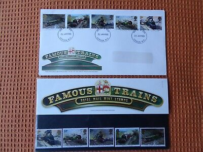 Famous Trains First Day Cover and Stamps 1985
