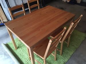 Ikea Pine Table with Four Chairs - Free Delivery Included