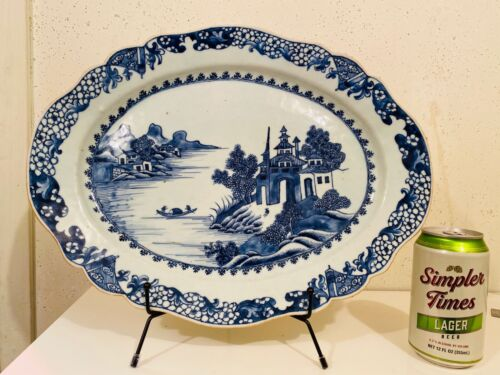 Large Qing Chinese Export Blue and White Platter 15x12 inch