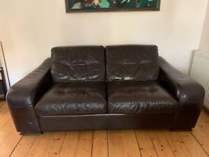 Brown Leather Couch -  in excellent condition