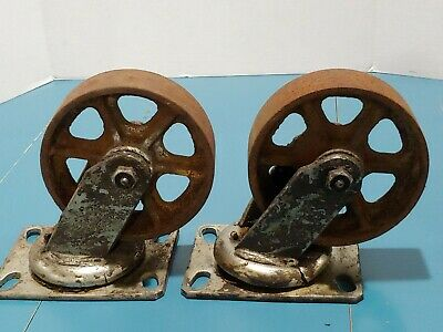 2 Large Vintage Cast Iron Wheels Swivel  8 Wheels Casters Lot