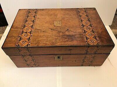 Victorian Veneered Writing Slope Box Brass