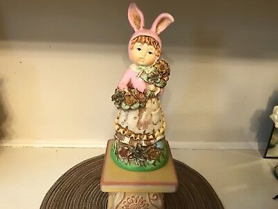 VINTAGE MUSICAL GIRL IN BUNNY COSTUME PLAYS EASTER PARADE FIGURINE, CERAMIC