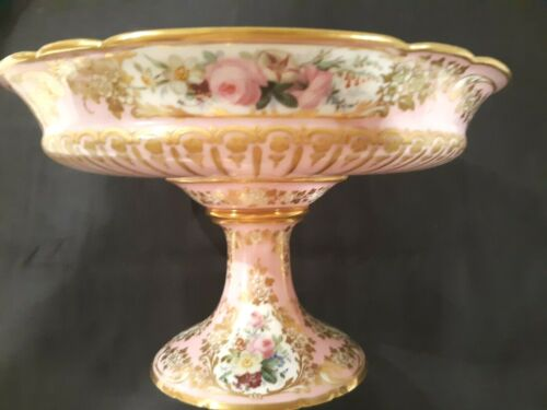 Antique French JACQUEL Compote / Pedestal Server - HP Flowers w/ Gold - Paris