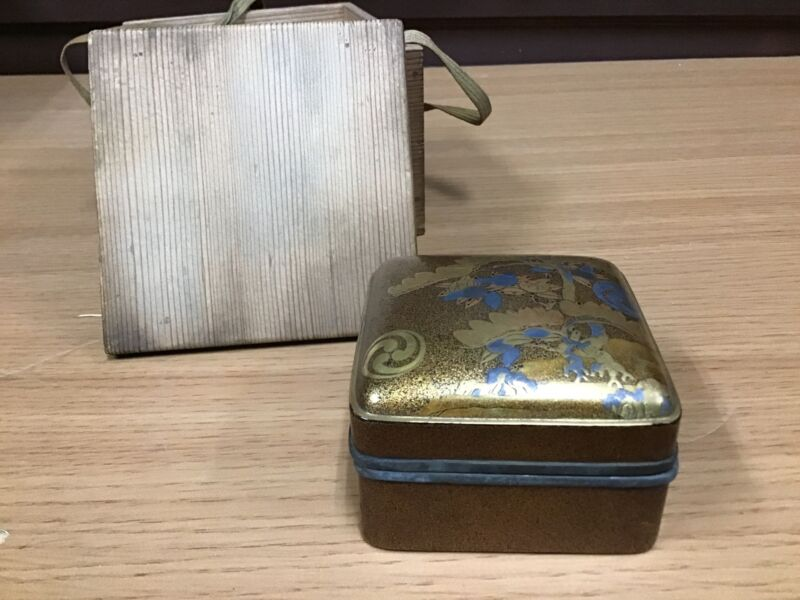 Y0346 BOX superfine Lacquer painting tin rim Japanese incense container