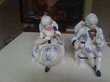 USED OLD WORLD BLUE&WHITE VICTORIAN MAN&WOMAN PAIR FIGURINES Kotara Newcastle Area Preview