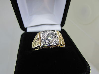 14k SOLID YELLOW GOLD DIAMOND 0.25CT MEN'S RING SIZE 14