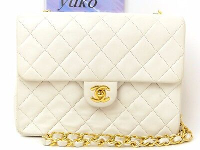 d8030 Auth CHANEL White Quilted Lambskin Leather CC Logo Mini Chain Shoulder Bag