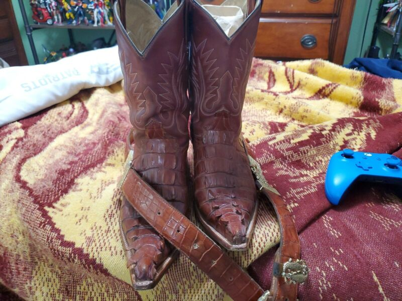 Mens, Genuine, Caiman, Tail, Cowboy, Boots, size, 8.5, and, belt, combo, size, 36, Rare!