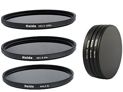 Haida ND Graufilterset ND8x, ND64x, ND1000x, - 58mm inkl. Stack Cap