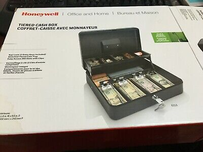 Honeywell 6213 Steel Tiered Cash Box With Two-entry Key-locking System Black