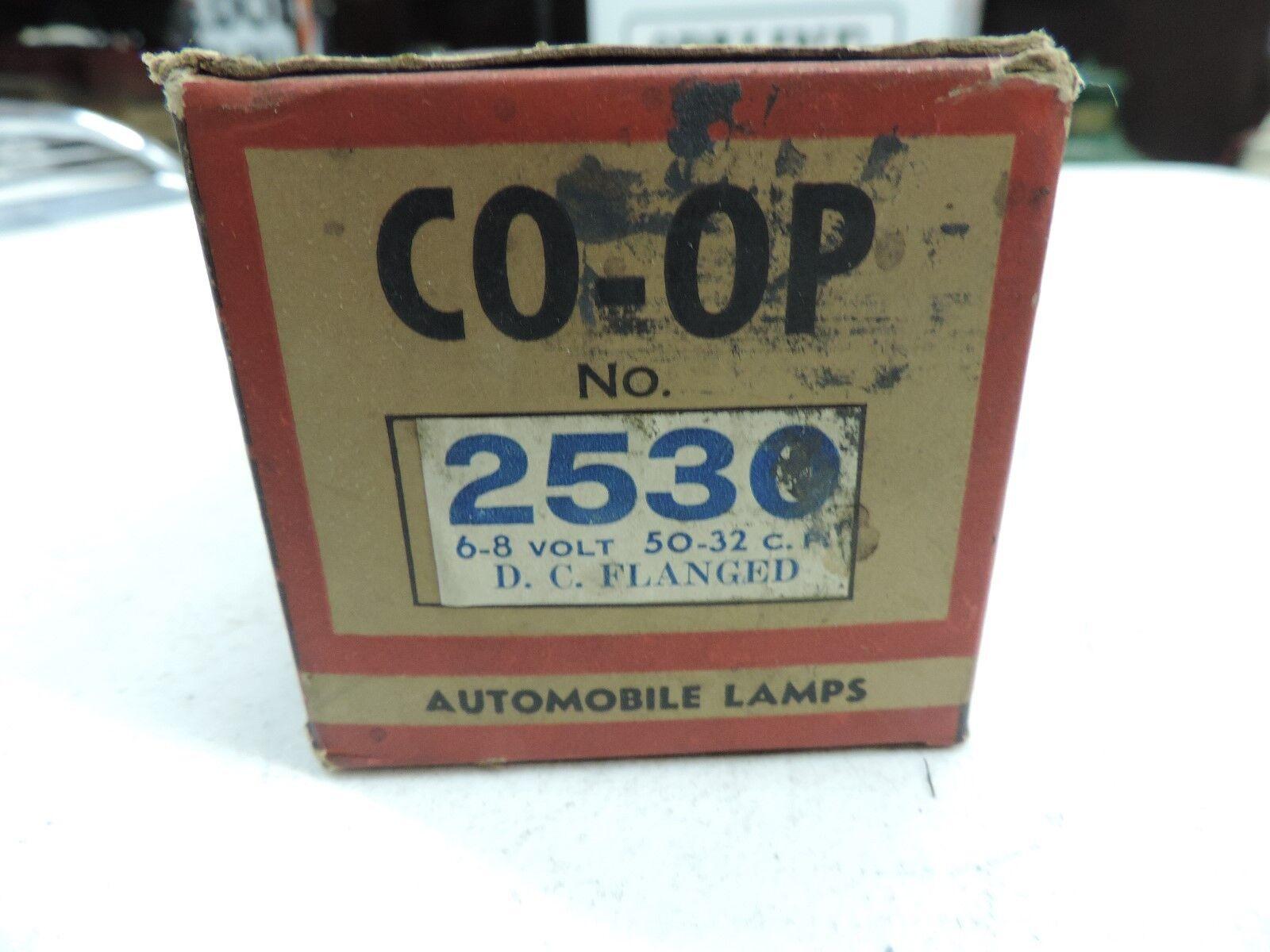VINTAGE CO-OP AUTOMOBILE LAMP / BULB 6 - 8 VOLT 50-32 C.P. / D.C. FLANGED - NIB