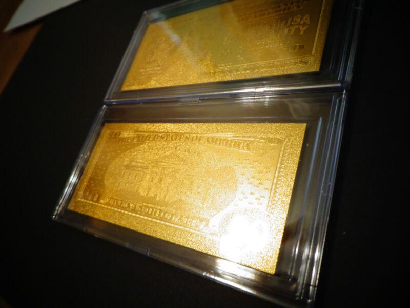 24 KARAT 99.9 % GOLD USA MINT $20 BILL* 2006 - COMES IN ACRYLIC,SLAB HOLDER -NEW