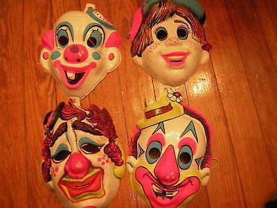 CLOWN MASK SET OF 4 VINTAGE EARLY  70's COLLEGEVILLE BEN COOPER HALLOWEEN MASK](70's Halloween Masks)